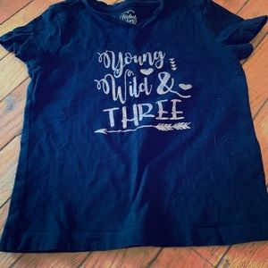 Other - etsy young wild and three black t shirt
